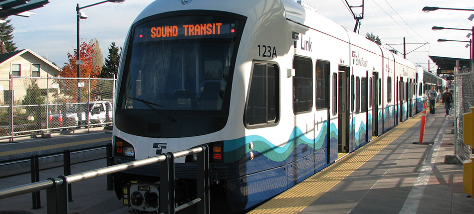 A Sound Transit lightrail train