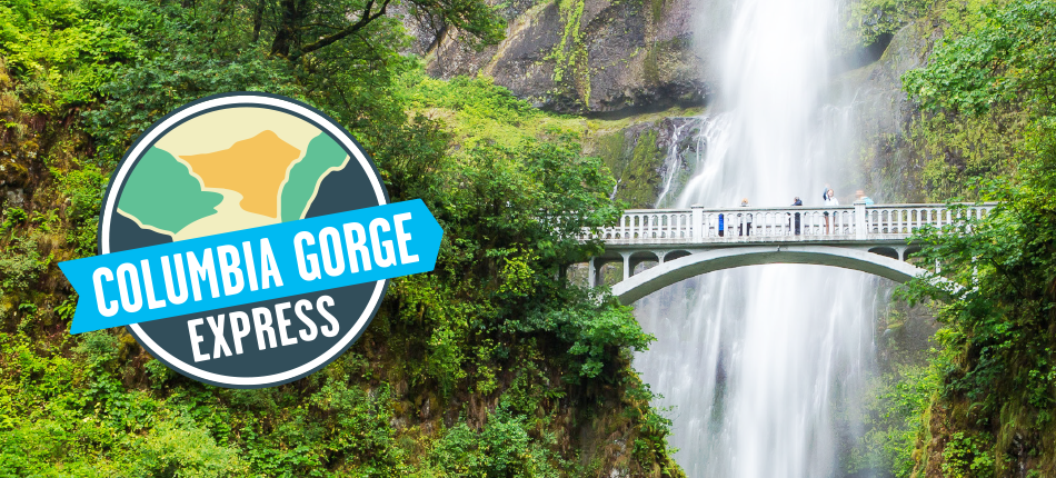 Multnomah Falls photo with Columbia Gorge Express Logo